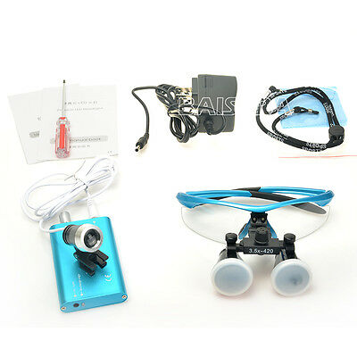 Dental Surgical Medical Binocular Loupes 3.5X 420mm+LED Head Light Lamp dentaire