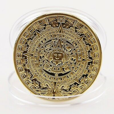 New Gold Plated Mayan Aztec Calendar Souvenir Commemorative Coin Collection Gift