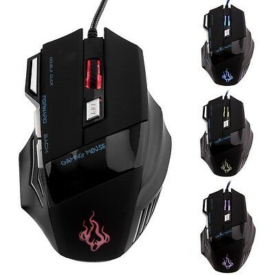New 5500 DPI 7 Buttons LED USB Optical Wired Gaming Mouse For Pro Gamer WL