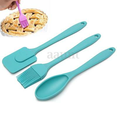 3pcs Silicone Spatula Spoon Brush Utensil Set Pastry Cooking Baking Mixing Tools