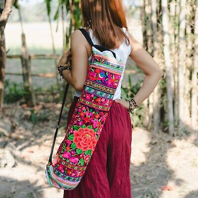 Boho Yoga Mat Bag Ethnic Style with Hmong Embroidered Fair Trade Thailand