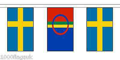 Scandanavian Sami People & Sweden Polyester Flag Bunting - 20m with 56 Flags