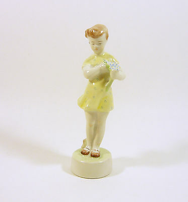 "Zsolnay, Girl In Yellow Dress With Flower 5.5"", Vintage Handpainted Porcelain !"
