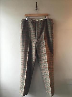True Vintage 1940s/50s/60s Mens Tweed Check Wool High Waisted Trousers W40 XL