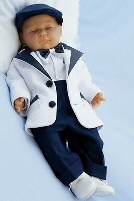 Baby Boy Formal Suit Pageboy Outfit Braces White Navy White Shirt Hat 0-18M