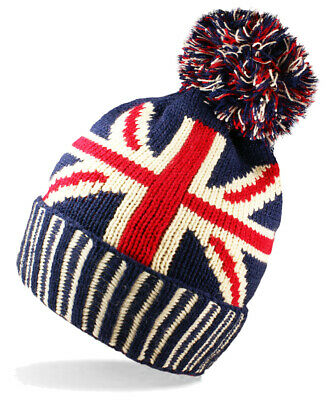 Unisex Mens Ladies Winter Warm Union Jack Gb Flag Knit Bobble Beanie Pom Pom Hat