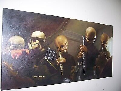 Star Wars Cantina 40x16 oil painting. Framing Avail Vader Han Solo Jedi Kylo Ren
