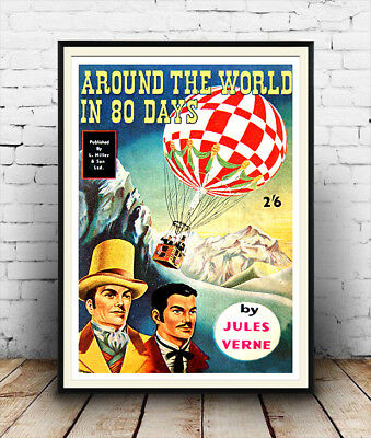 Wall art. Around the world in 80 days Reproduction book advertising poster