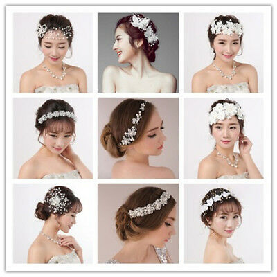 Wedding Bridal Crystal Rhinestone Pearl Hair Pin Headband Bride Hair Accessories