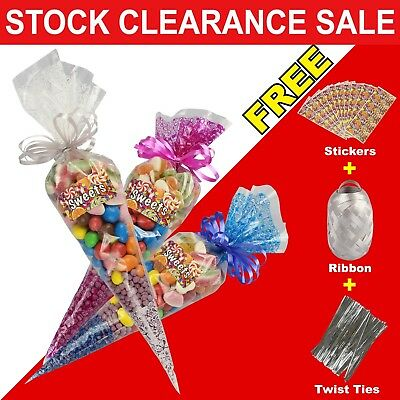 Large Clear Cellophane Sweet Cone Bags Twist Ties Party Bags Candy Display Ties