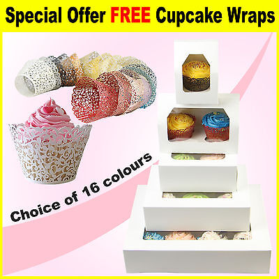 Cupcake Boxes 1, 2, 4, 6 & 12 cup window boxes Cupcake Wrappers cases