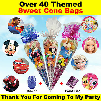 Children's Personalised Disney Sweet Cone Bags Birthday Party Bags Kids Candy