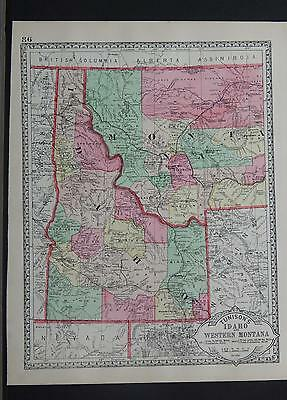 Antique Map, c. 1885 Tunisons States of Idaho or Wyoming Z1#74