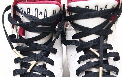 "45/"" Premium White Jordan XI shoeLaces with Gold TIP LBJ 82 KD ADIDAS SNAKE BOOST"