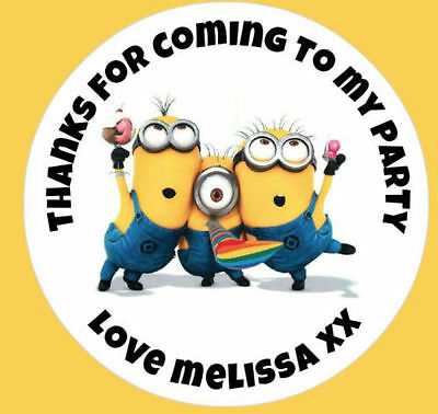 Personalised Minions Despicable Me Birthday Party Stickers Thank You Labels