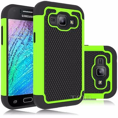 Fits Samsung Galaxy J1 2016 Case Shockproof Rugged Impact Hybrid Cover - Green