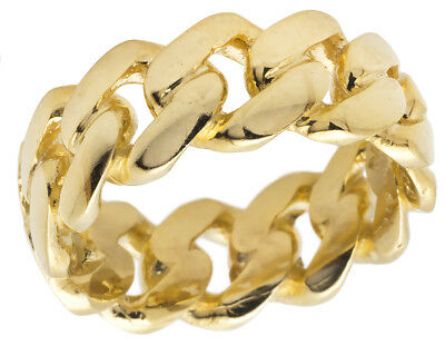 f1f2841798a86 MENS MIAMI CUBAN Link Ring 16mm 10k Solid Gold Extra Ordinary Best ...