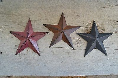 "Set of 3 ~ 5.5""  BURGUNDY RUSTY BLACK BARN STARS Metal Primitive Country 5 1/2"""