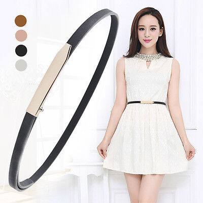 Women's Leather Belt Gold Smooth Long Buckle Narrow Thin Skinny Waist Belt