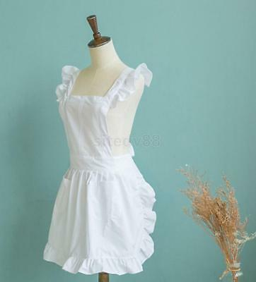 White Victorian Style Pinafore Apron Smock Costume Servant Girl Dress Pocket