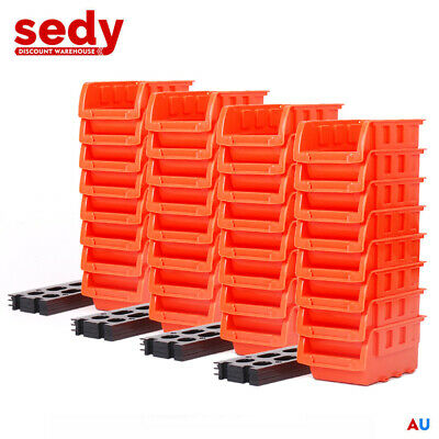 32 PC Wall Mounted Storage Bins Rack Set  Nuts Bolts Organizer Parts 97902