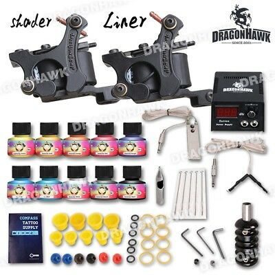 Tattoo Kit 2 Machine Gun Power Supply Set 20 color ink Needles Grip Tip D175VD