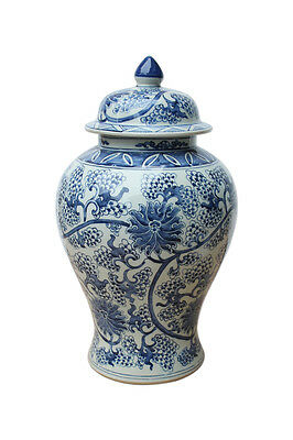 Beautiful Blue and White Floral Pattern Porcelain Temple Jar 19""
