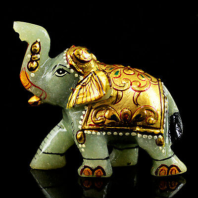 365.00 Cts Natural Rare Aaa Untreated Rich Green Jade Carved Elephant Gemstone