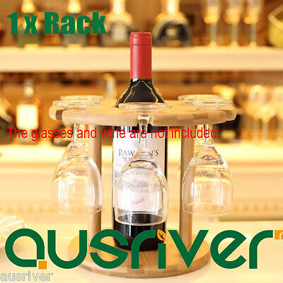 Brand New Tabletop Wooden One Wine Bottle and Six Glass Rack Holder Globlet Rack