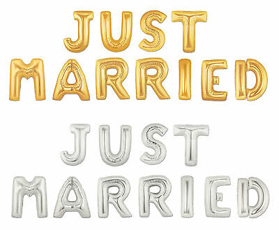 16 40 Silver Gold Mylar Letter Balloons JUST MARRIED Wedding Party LOVE Propose