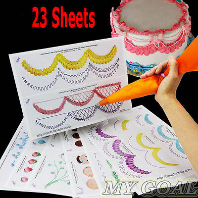 23 Sheet Cake Decorating Practice Board Icing Drawing Paper Sugarcraft Learning