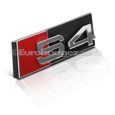 1 - BRAND NEW Audi S4 A4 B8 Front Grill Grille Badge Emblem CHROME / RED / BLACK