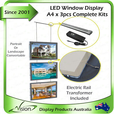 A4 LED Illuminate Window Display Kits Double Sided Panel Real Estate Agent
