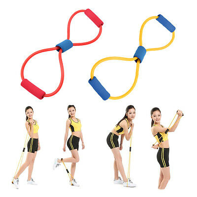 Resistance Band Yoga Pilates Abs Exercise Stretch Fitness Tube Workout Bands WL