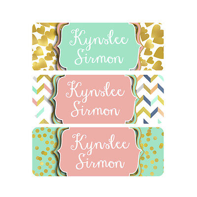 School Name Labels, Waterproof, Daycare Labels, Camp, Pink, Mint, Gold, Hearts