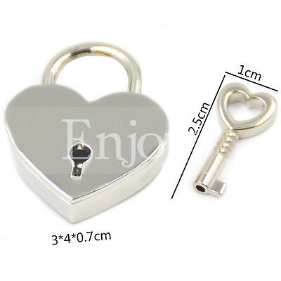 Silver Heart Lock with Key Travel Luggage Suitcase Lock Padlock Accessories