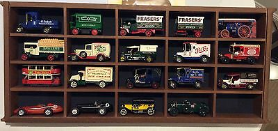 19 Match Box Vintage Models of Yesterday Cars in wooden display case