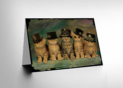 New Birthday Painting Steampunk Kittens Plaster Art Greetings Card Cl1316