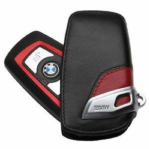 Genuine BMW Key Holder Fob Leather Cover Sport Line Red 82292219909