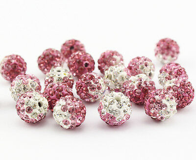 100 Pcs Cz Crystal Shamballa Beads Pave Disco Balls Gradient Pink Color 10MM