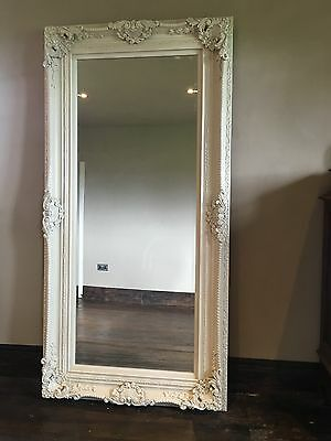 Large Antique White Ornate Cream French Floor Dress Chic Leaner Wall Mirror 6ft