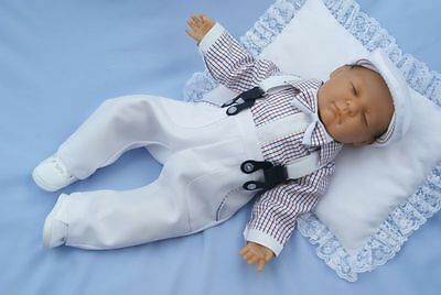 Baby Boy Formal Pageboy Outfit Little Gentleman Braces White Bodysuit Hat 0-18M