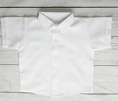 Baby Boy White Christening Smart Shirt Style Formal Shirt Short Sleeve 0-18M