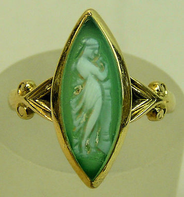 A Fine Edwardian 18Ct Gold Hardstone Cameo Ring, London 1904, Size L, 3 Grams.