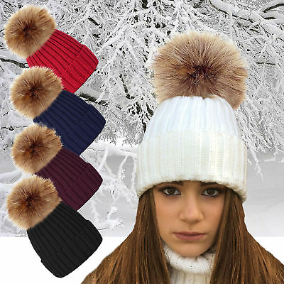 Ladies Chunky Winter Knitted Beanie Hat With Large Detachable Racoon Fur Pom Pom