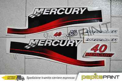 KIT adesivi motore MERCURY 40 cv four stroke efi plastificati outboard stickers