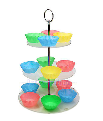 3 Tier Clear Acrylic Round Cupcake Stand Tower Wedding Party Cake Display DS22