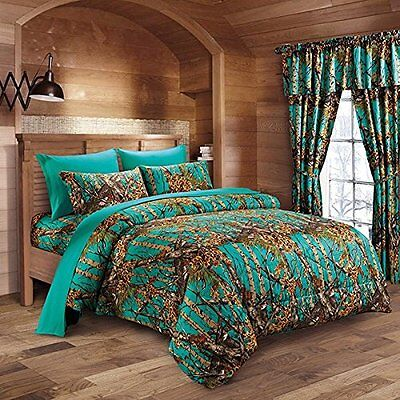 12 Pc Teal Camo Comforter And Sheet Set Queen Camouflage Woods Curtains