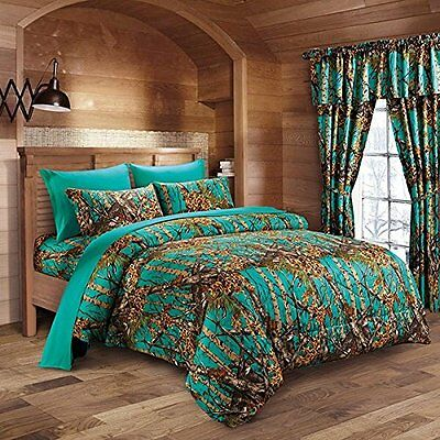 12 Pc Teal Camo Comforter And Sheet Set King Camouflage Woods Curtains