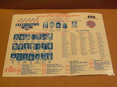 1988 Pro Football Hall of Fame Festival, Paper Placemat, Laminated